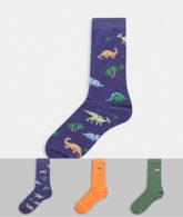 ASOS DESIGN - Knöchellange Socken mit Dinosaurier-Stickerei, 3er-Pack-Mehrfarbig