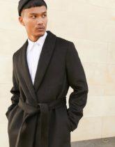 ASOS DESIGN - Mantel aus Wollmischung mit Gürtel in Schwarz