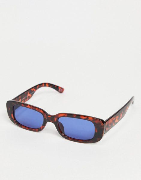 ASOS DESIGN - Mittelgroße, rechteckige Sonnenbrille in Schildpattoptik mit blauen Gläsern-Braun