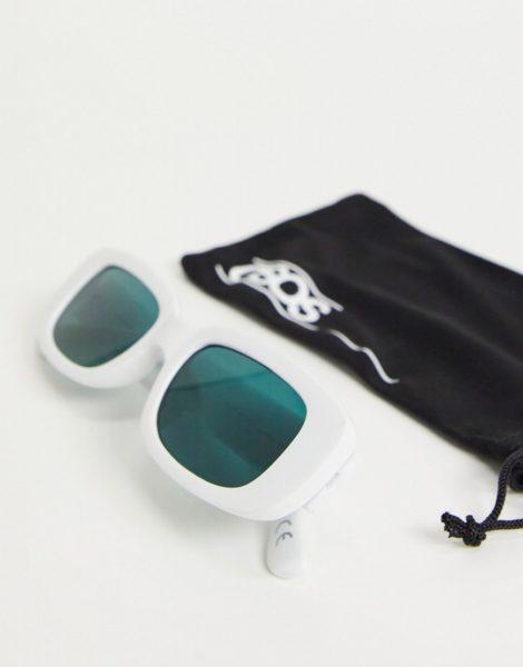 ASOS DESIGN - Mittelgroße, rechteckige Sonnenbrille in Weiß mit tintengrünen Gläsern