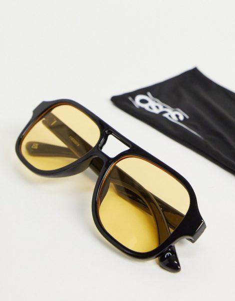 ASOS DESIGN - Navigator-Sonnenbrille in Schwarz mit gelben Gläsern