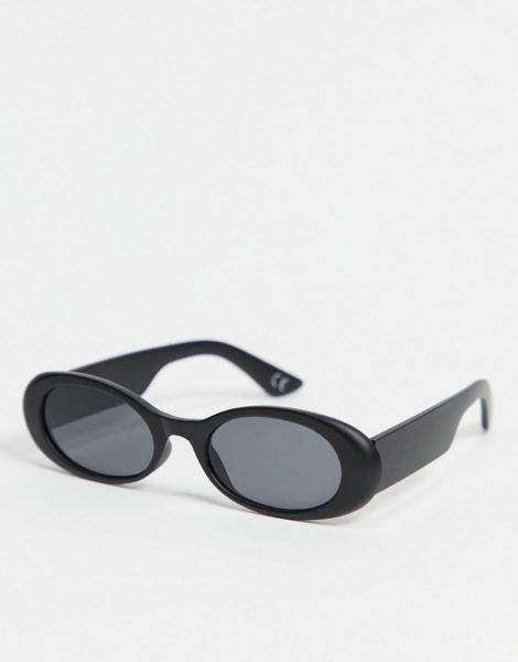 ASOS DESIGN - Ovale Sonnenbrille in Schwarz mit getönten Gläsern