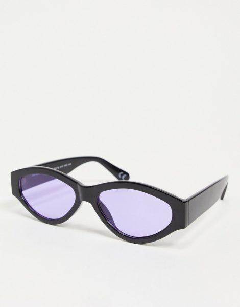 ASOS DESIGN - Ovale Sonnenbrille mit markantem Gestell und lila getönten Gläsern-Schwarz