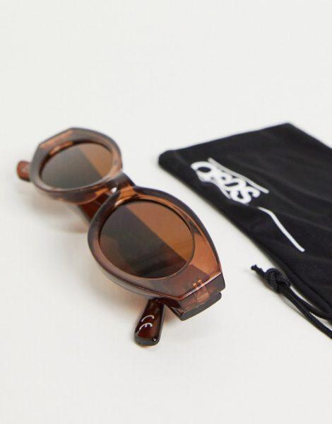 ASOS DESIGN - Ovale, mittelgroße Sonnenbrille in Braun mit braunen Gläsern