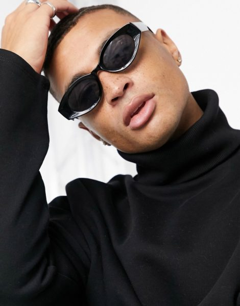 ASOS DESIGN - Ovale, mittelgroße Sonnenbrille in Schwarz mit getönten Gläsern und Rahmen aus recyceltem Material