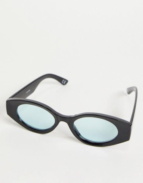 ASOS DESIGN - Ovale, mittelgroße Sonnenbrille in Schwarz mit hellblauen Gläsern