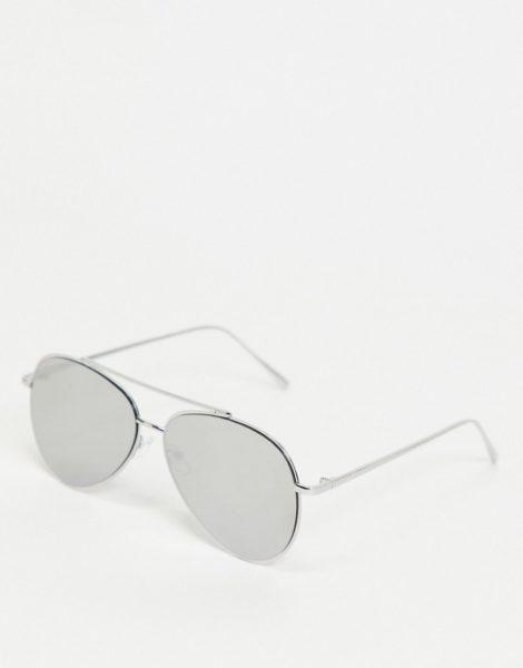 ASOS DESIGN - Piloten-Sonnenbrille mit verspiegelten Gläsern in Silberfarben