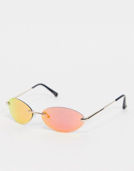 ASOS DESIGN - Rahmenlose Sonnenbrille in Rosa mit verspiegelten Gläsern