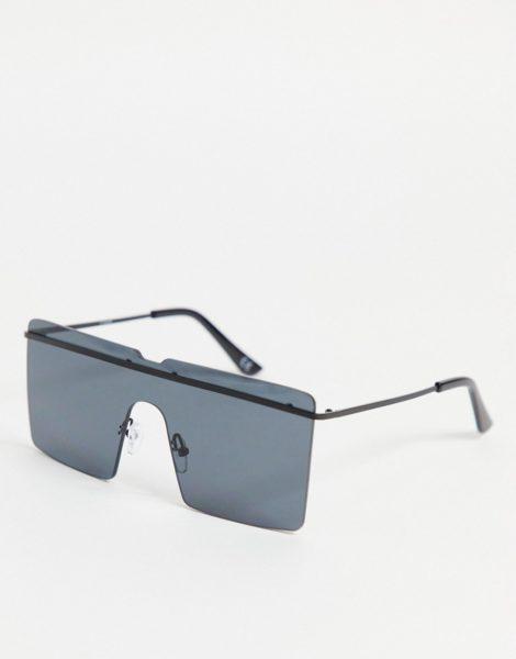 ASOS DESIGN - Rahmenlose eckige Oversize-Sonnenbrille in Schwarz mit Brauensteg-Detail