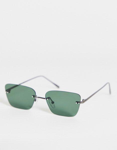ASOS DESIGN - Randlose, eckige Retro-Sonnenbrille mit grünen Gläsern-Schwarz