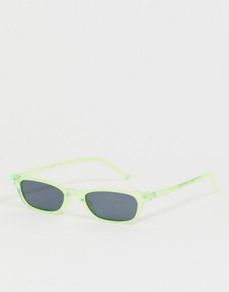 ASOS DESIGN - Rechteckige Mini-Sonnenbrille in Neongrün mit Kristallverzierung und getönten Gläsern