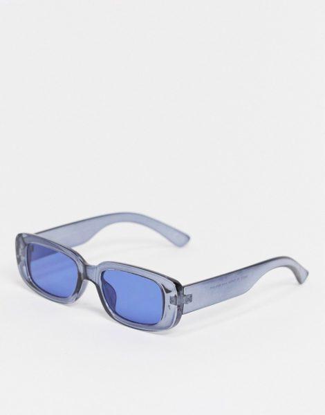 ASOS DESIGN - Rechteckige Sonnenbrille in Marineblau mit blauen Gläsern