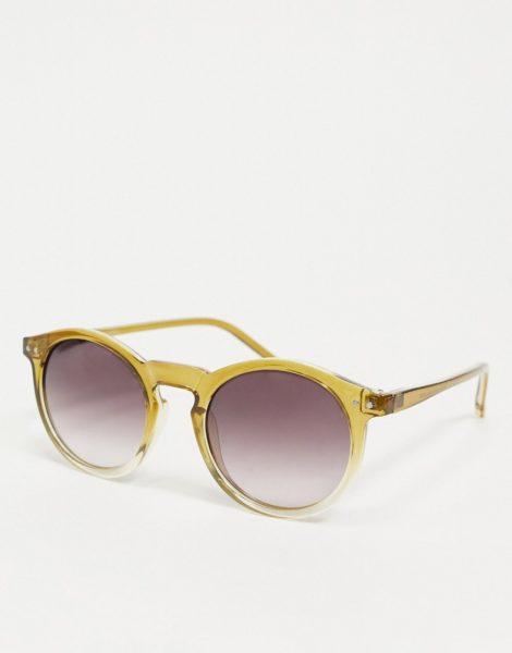 ASOS DESIGN - Runde Sonnenbrille in Kristallgelb mit Farbverlauf und lila Gläsern-Mehrfarbig