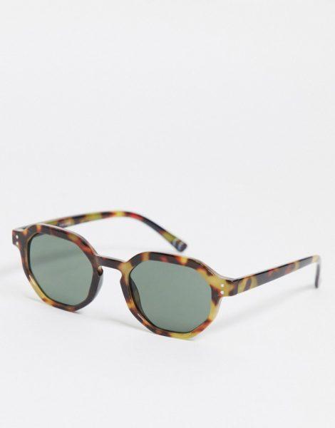 ASOS DESIGN - Runde Sonnenbrille in Schildpatt-Optik mit getönten Gläsern-Braun