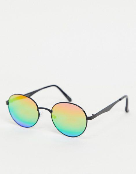ASOS DESIGN - Runde Sonnenbrille mit verspiegelten Gläsern in bunten Regenbogenfarben-Mehrfarbig