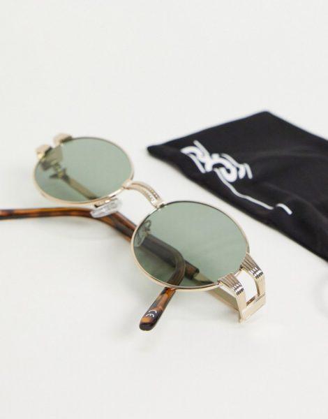 ASOS DESIGN - Runde Vintage-Sonnenbrille mit Gold-Finish-Goldfarben