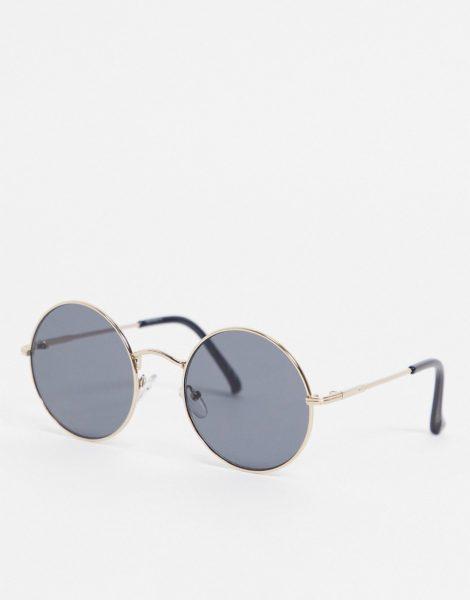 ASOS DESIGN - Runde, goldfarbene Sonnenbrille mit getönten Gläsern