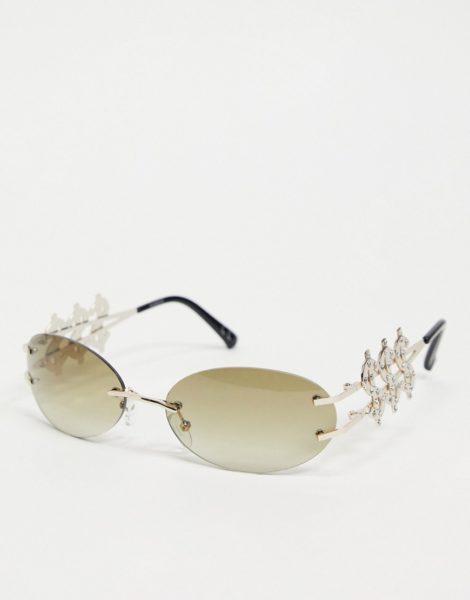 ASOS DESIGN - Runde, goldfarbene Sonnenbrille mit rauchgrauen Gläsern & Dollarzeichen