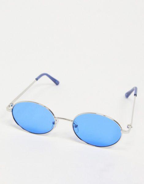 ASOS DESIGN - Runde, silberfarbene Sonnenbrille mit Gläsern und Rahmendetail in Blau