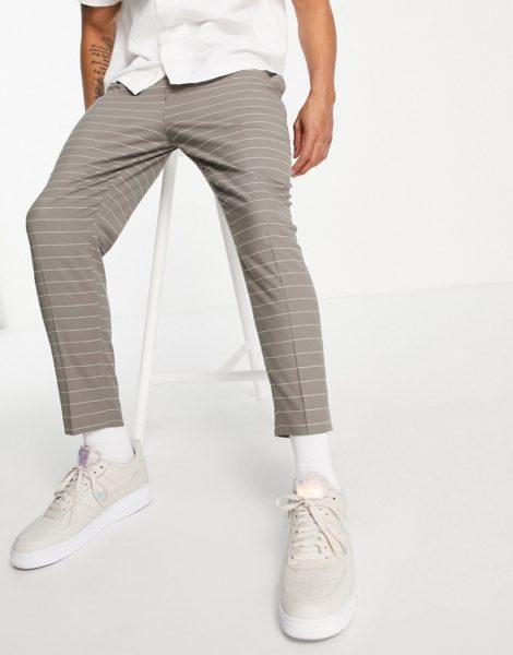 ASOS DESIGN - Schmal zulaufende schicke Hose, horizontal gestreift-Grün