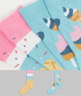 ASOS DESIGN - Socken mit Eiscreme-Design, 2er-Pack-Mehrfarbig