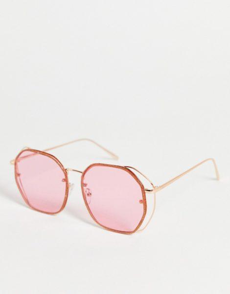 ASOS DESIGN - Sonnenbrille im Stil der 70er in Rosa mit glitzerndem Rahmen