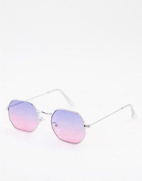 ASOS DESIGN - Sonnenbrille im Stil der 90er mit angewinkeltem Metallgestell in Silber und Gläsern mit Farbverlauf in Flieder