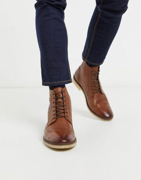 ASOS DESIGN - Stiefel im Budapester-Stil aus hellbraunem Leder mit Natursohle