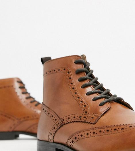ASOS DESIGN - Stiefel im Budapester Stil aus hellbraunem Leder mit Sohle in Natur, weite Passform