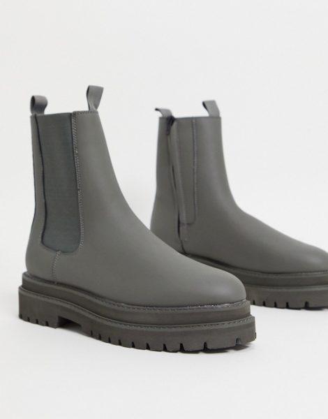 ASOS DESIGN - Wadenhohe Chelsea-Stiefel aus grauem Kunstleder