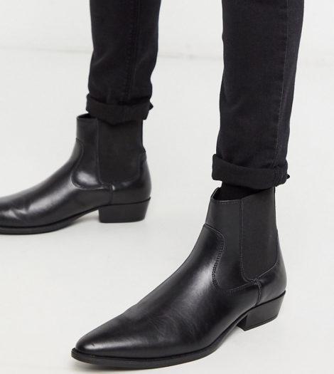 ASOS DESIGN Wide Fit - Vegane Chelsea-Stiefel aus Kunstleder im Westernstil mit kubanischem Absatz in Schwarz