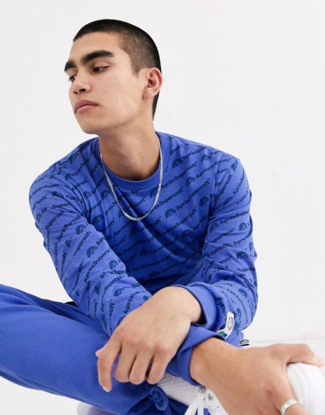 Aprex - Superweiches langärmliges T-Shirt mit durchgehendem Logodruck, in Blau