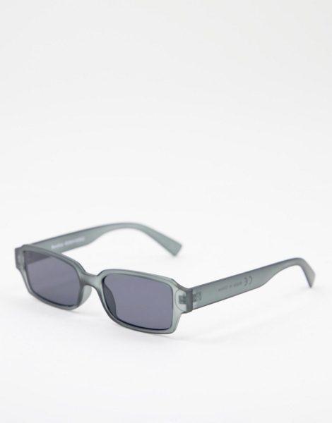 Bershka - Eckige Sonnenbrille in Schwarz