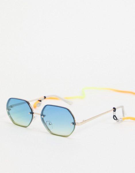 Bershka - Sechseckige Sonnenbrille in Blau