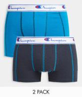 Champion - 2er-Pack Boxershorts aus Jersey in Dunkelgrau und Blaugrün-Mehrfarbig