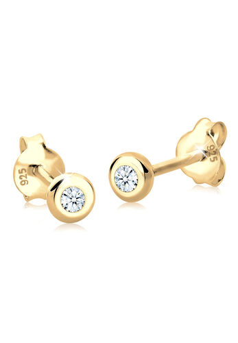 DIAMORE Ohrringe Basic Diamant (0.06 ct.) 925 Silber Geschenkidee, Gold, keine Angabe