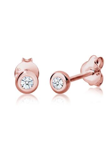 DIAMORE Ohrringe Basic Diamant (0.06 ct.) 925 Silber Geschenkidee, Rosegold, keine Angabe