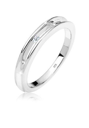 DIAMORE Ring Geschenkidee 0.03 ct. Diamant 925 Silber, Weiß, Weiß