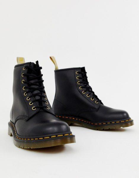 Dr Martens - Vegan 1460 - Schwarze Stiefel mit 8 Ösen