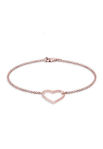 Elli Armband Herz 925 Sterling Silber Geschenkidee, Rosegold, 18cm