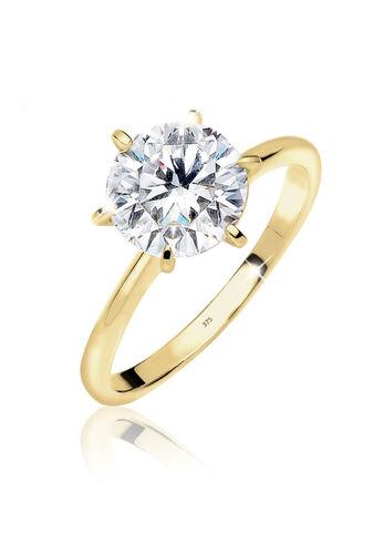 Elli PREMIUM Ring Solitär 375 Gelbgold Zirkonia Geschenkidee, Weiß, Weiß