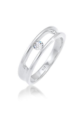 Elli Ring Swarovski® Kristalle 925 Silber Geschenkidee, Weiß,