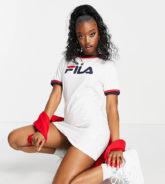 Fila - T-Shirt-Kleid in Weiß mit großem Brust-Logo, exklusiv bei ASOS