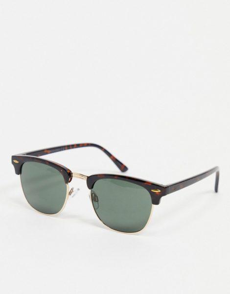 Jack & Jones - Eckige Sonnenbrille in Schildpattoptik-Braun