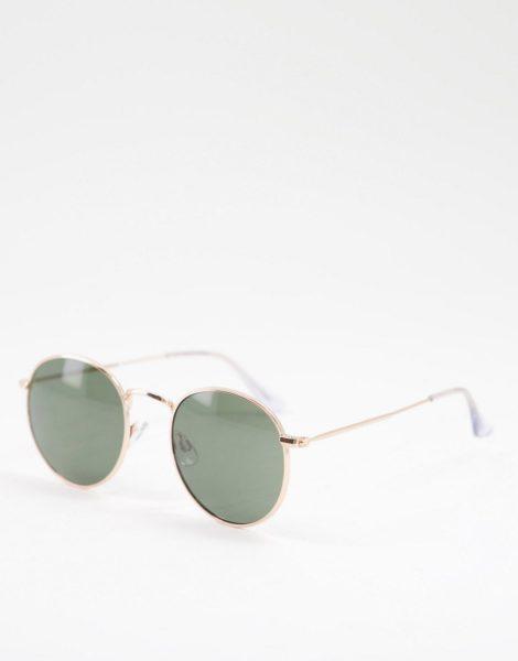 Jack & Jones - Runde Sonnenbrille in Gold-Goldfarben