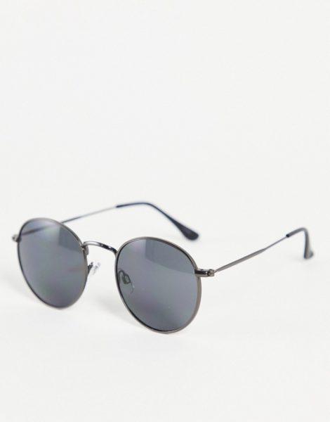 Jack & Jones - Schwarze Sonnenbrille mit runden Gläsern