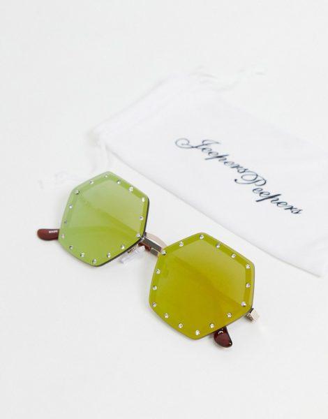Jeepers Peepers - Eckige Sonnenbrille für Damen mit Kristalldetail-Braun