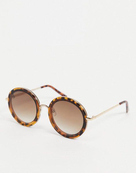Jeepers Peepers - Runde Oversized-Sonnenbrille für Damen in Schildpatt-Optik-Braun
