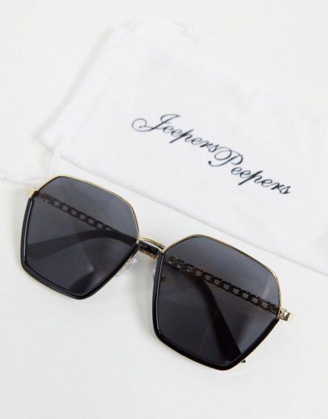 Jeepers Peepers - Sechseckige Oversize-Sonnenbrille in Schwarz, für Damen