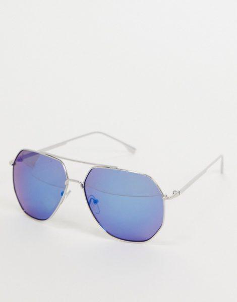 Jeepers Peepers - Viereckige Damen-Sonnenbrille in Silber mit Gläsern in Blau